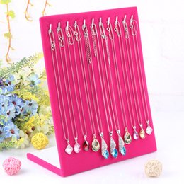 Wholesale Necklace Stand Holders Hooks - Fashion Rose Red L Shape Necklace Display Holder Shelf Pendant Necklace Display Rack Bracelet Stand Hook Factory Wholesale Price