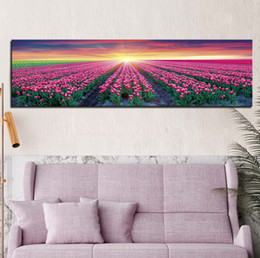 Wholesale Tulips Oil Painting - Tulip garden at sunrise Frameless Landscape Painting