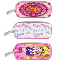 Wholesale Pencil Cartoon Character - Wholesale- Anime Pretty Soldier Sailor Moon  CARDCAPTOR SAKURA   unicorn Cosmetic Cases Girls Children Pencil Holder Case Kids cartoon Bag