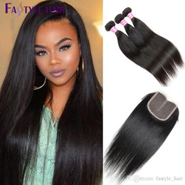 Wholesale Top Quality Hair Extensions - Indian Straight 3 Extension Bundles With Swiss Lace Closure UNPROCESSED Brazilian Peruvian Malaysian Virgin Human Hair Wefts Top Quality