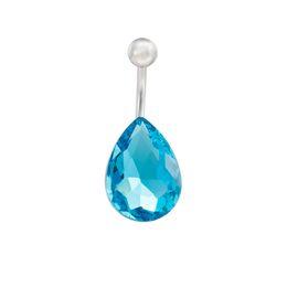 Joyería azul campana online-Nuevo Acero Inoxidable Creado Azul Piedra de la Lágrima Joyería de Moda Piercing Ombligo Anillo de Bell Anillos de Botón para Las Mujeres Regalo Caliente