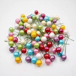Wholesale Berry Wreaths - Wholesale-40pcs   lot mini plastic small berries Artificial flower stamens cherry pearlescent wedding DIY gift boxes decorated wreaths