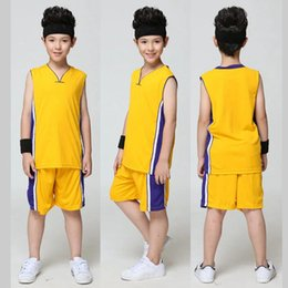 Wholesale Wholesale Kids School Shirts - Blank Basketball Jersey for Kids Training Shirt Set Children Sports Suit School Basketball Team Uniform Boys Running Clothes QT032