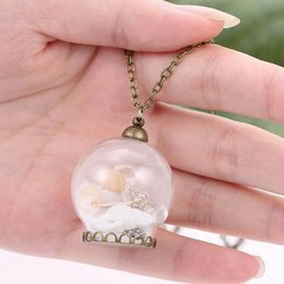 Wholesale Glass Starfish Shells - Fashion Glass Ball 3D Miniature Landscape Starfish Conch Shell Pendant Vintage Copper Necklace Mixed Wholesale On Behalf Of The Delivery