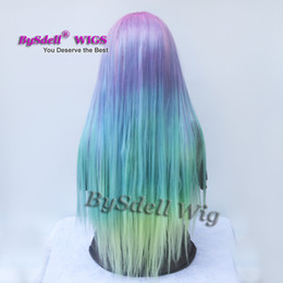 Wholesale Long Pink Anime - Long Silk Straight Mermaid Rainbow Color None lace  Lace Front Wig Beauty Pastel Pink Purple Blue green Colorful Hue Anime Cosplay Party Wig