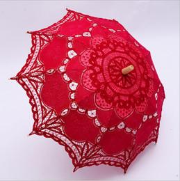 Wholesale Cheap Black Umbrellas - Cheap 2017 Colorful Embroidery Lace Parasols Handmade Umbrella For Photography Props 48cm Long European Bridal Accessories