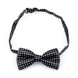 Wholesale Boys White Black Necktie - Wholesale- IMC Novelty Mens Bowtie Wedding Necktie Black+White Dot