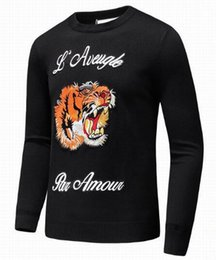 Wholesale Black Par - Fashionable Autumn Mens Sweaters Tiger Knitted Brand Clothing L'Aveugle Par Amour Knitwear Pullovers Male Knitting Clothes Blue Black