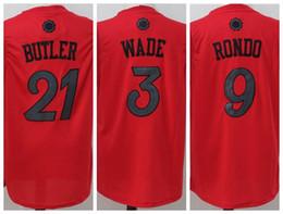 Wholesale Best Basketball Shirts - Best Quality 21 Jimmy Butler Jerseys 2016 Christmas Day Jerseys Xmas 3 Dwyane Wade 9 Rajon Rondo Basketball Shirt Uniform Team Color Red