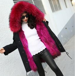 Inverno moda donna pelliccia di procione con cappuccio manica lunga allentata verde militare reale naturale pelliccia di volpe fodera ispessimento caldo lungo parka cappotto M-4XL da