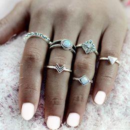 Wholesale Vintage Arrows - 6 pcs set Arrow Triangle Stone Midi Rings Ancient Silver Crystal Vintage Punk Bohemian Finger Ring For Women Boho Jewelry