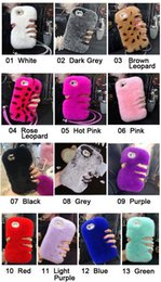 Wholesale Iphone Winter Cover - Deluxe Winter Warm Soft Fluffy Tieback Rabbit Fur Crystal Bling Back Case Cover For iPhone5 5S SE iPhone6 7 Plus Samsung Series Phone Case
