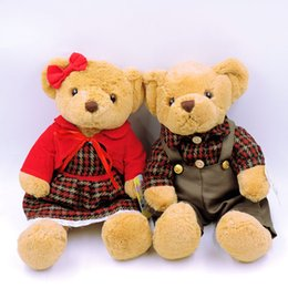 Wholesale Wholesale Teddy Bears For Valentines - Wholesale- (A Pair) Kawaii Couple Teddy Bears Stuffed Plush Toys Valentine Teddy Bear Soft Kids Toy for Children Gifts Collection 6 Colors