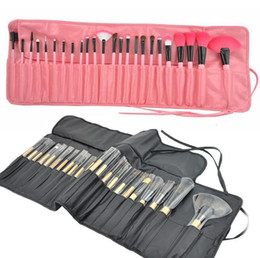 Wholesale Combination Tool Sets - makeup brushes sets 24pcs set Synthetic hair Wood Handle Brush Kits Cosmetic tools Foundation brush and eyebrow Combination kit