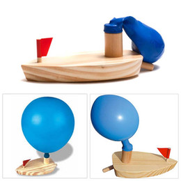 Wholesale Power Swimming - Wholesale- Baby bath toys balloon power waterwheel boat classic toy montessori kids learning wooden bath swimming float brinquedos banho