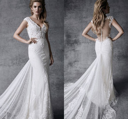 Wholesale Satin Short Slim Dress - Bohemian Cap Sleeves Slim Mermaid Lace Wedding Dress Bridal Gown V Neck Watteau Train Long Gowns For Wedding Bride 2017 ADW006