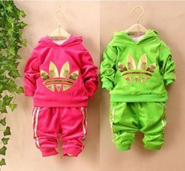 Wholesale Kids Velour Suits - Toddler Baby Clothing Sets Hoodies Pants 2017 Spring Autumn Children Kids Casual Velvet jacket Girl sport suit boys fashion velour Tracksuit
