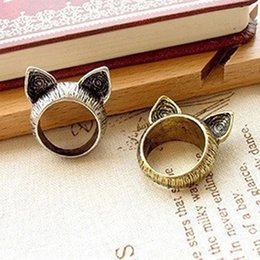 Wholesale Cheap Cat Ears - Wholesale- G017 Hot Girl Bijoux 2017 New Vintage Unique Cute Cat Ear Finger Ring For Women Jewelry Wedding Accessories Cheap Wholesale