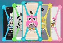 Wholesale New Cell Phone Silicone - New Cartoon Ring Stand Soft Silicone Case Holder For Cell Phone 3.5 - 5.5 Inch Bumper Frame Cover grip