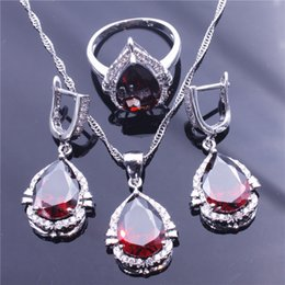 Wholesale Amethyst Fine Jewelry - Fine Jewelry Jewelry Set Exquisite CZ Crystal Pendant Necklace Earrings Ring Sets Valentine's Day Jewelry