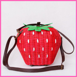 Wholesale Vintage Rattan Bags - Wholesale-Fruit Bags Fashion Strawberry Hand-made Cane Women Shoulder Bags Beach Rattan Straw Girl Portable Handbag Vintage Casual A002