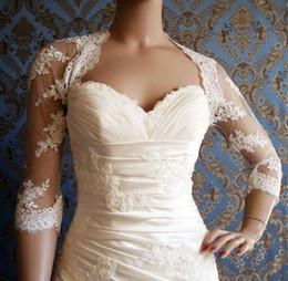 Wholesale Bolero Lace Wedding Gown - Vintage Lace Bridal Wraps & Jackets with Illusion 3 4 Sleeves 2017 Spring Bridal Coats Bolero for Wedding Gowns In Stock
