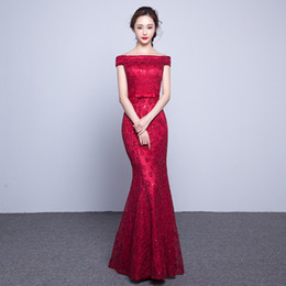 Wholesale Cheap Faux Leather Jacket - Beads Lace Mermaid Long Evening Dress 2017 Cheap Red Prom Dresses Robe De Soiree Off The Shoulder Party Dress