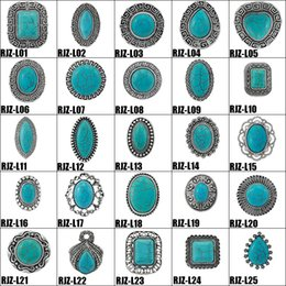 Wholesale Turquoise Stone Bohemian Rings - High quality turquoise Rings 112 styles vintage Turquoise Natural Stone Rings Fashion Costume Gemstone Female&male Ring Jewelry Free Size