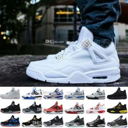 Wholesale Flocking Packing - Wholesale Cheap New retro 4 toro bravo fear pack white cement mens basketball shoes sneakers 2017 bred high cut sports shoes US 8-13 41-47