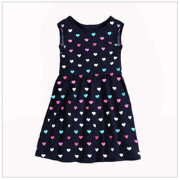 Wholesale Wholesale Heart Jumpers - 2017 Sleeveless Girls Clothes Brand Children Dresses Heart Baby Girls Dress Blouse Kids Jumpers Cotton Fashion Summer Dress 2-9Years