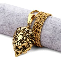 Wholesale Mens Lion Pendant - Hot Mens Hip Hop Lion Pendant Necklace Stainless Steel Gold Plated Lion Head Face Silver Charming Jewelry