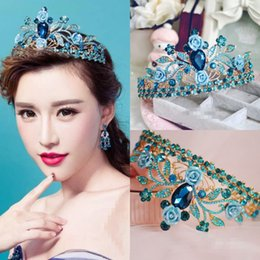 Wholesale Blue Crystal Wedding Headpiece - Vintage Baroque Wedding Bridal Blue Crystal Rhinestone Princess Crown Headbands Tiara Headpiece Hair Accessories Pageant Prom Jewelry
