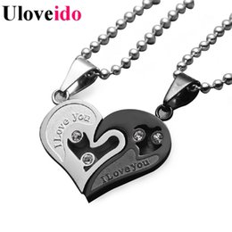 Wholesale Love Necklace For Couples - Mens Stainless Steel Chain Black Heart Love Necklaces for Couples Korean Ladies Fashion Trendy Paired Suspension Pendants Model