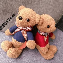 Wholesale Keyring Teddy Bears Wholesale - Cute Soft Cartoon Animal Keychain Small Teddy Bear Toy Plush Doll Keyring Stuffed Pendant Key Chain Women Bag Charm Trinket Gift