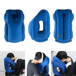 Wholesale One Neck - Inflatable Cushion Travel Pillow + Earplug + Eye Mask Set Innovative Pillow for Traveling Airplane Pillows Neck Chin Head Support 0707012