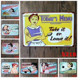 Wholesale Picture Crafts - I CAN'T COOK WHO CARES? Metal Poster Wall Decor Iron painting Tin Poster old picture 30X20CM Bar Home Vintage Craft Mixed designs