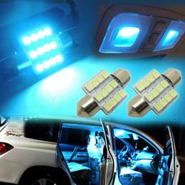Wholesale Car Roof Fog Light Led - DIY 31MM12-SMD Ice-Blue BLUE Festoon Dome Map Interior LED Light Bulbs Car Roof Lamp 10pcs LOT