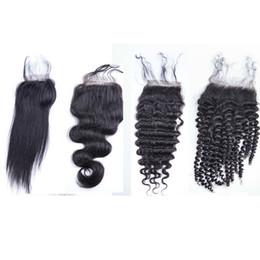 Wholesale Yaki Hair Prices - Lowest Price Malaysia Human Hair Lace Closure 3.5X4 Size Loose Body Wave Straight Deep Kinky Curly Yaki Human Hair Closures