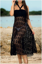 Wholesale Hot Couture Dresses - New hot Two wear new summer Couture lace openwork Sexy Halter Dress Skirt Dress Female Beach Resort lace skirt