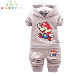 Wholesale Kids Mario Coat - 2017 Spring Kids Clothes Super Mario Cartoon Coat Pants 2pcs Clothing Sets For Boys Girls Hooded Tops Child Suits Tracksuit L156