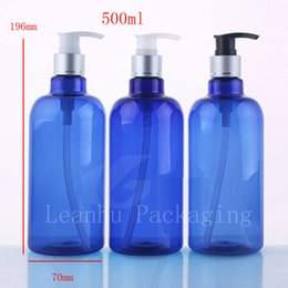 Wholesale Wholesale Blue Shower Gel - 500ml X 12 empty round blue body lotion cream pump plastic bottles ,big capacity high quality pump bottle for shower gel