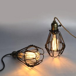 Wholesale Decoration Bird Cages - American Style Pendant Lamp With Edison Bulbs E26 4W 6W 8W ST64 Filament Light Bird Cage Decoration Cord Pendant European Restaurant Light