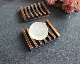 Wholesale Wholesale Wood Soap Dish - Vintage Style Bathroom Soap Tray Handmade Wood Dish Box Wooden Soap Dishes As Holder Bathroom Accessories wa3928
