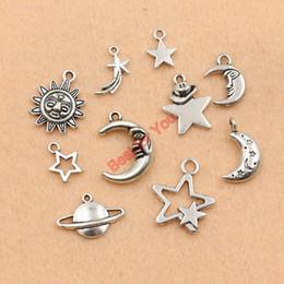Wholesale Tibetan Silver Moon Charms - Wholesale-Mixed Tibetan Silver Plated Moon Star Sun Charms Pendants Jewelry Making Handmade Accessories DIY m030