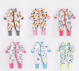 Wholesale Feathered Kids Clothes - INS 6 New style autumn Baby kids long sleeve cute feathers bicycles rabbits cartoon patterns printing romper 100% cotton kids clothing