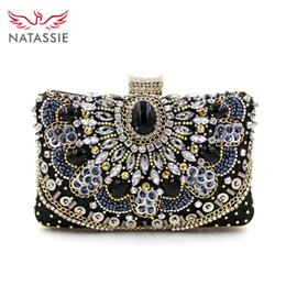 Wholesale High Quality Beaded Handbags - Wholesale-Hot Sale Women Small Beaded Clutch Purse Elegant Black Evening Bags Lady Wedding Party High Quality Handbag With Chain