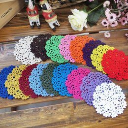 Wholesale Crochet Cup Placemat - Wholesale-5Pcs Vintage Floral Hand Crochet Table Mat Handmade Cotton Hollow Round Doily Cup Pads Doilies Crochet Placemat Coasters 10cm