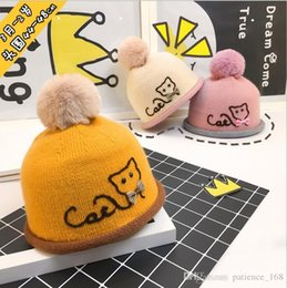 Wholesale Hat Wool Kids - 6 colors Ins Baby Kids boy girls Hat Children autumn Winter cat bowknot Hair bulb cap baby wool cap Cotton Knitted Winter keep warm Hat