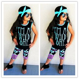 Wholesale Gilrs T Shirt - 2017 Ins Kids Girl Summer Outfits Gilrs Wild One Letter Short Sleeve T-shirt+Geometry PP Pants+Headband Three Piece Sets Baby Ins Clothes