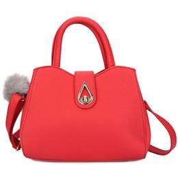 Wholesale Drop Shoulders - Solid Color Ladies Tote Bag Water Drop Lock Zipper Hasp Handbag Luxury PU Leather Shoulder Cross Body Bags for Women